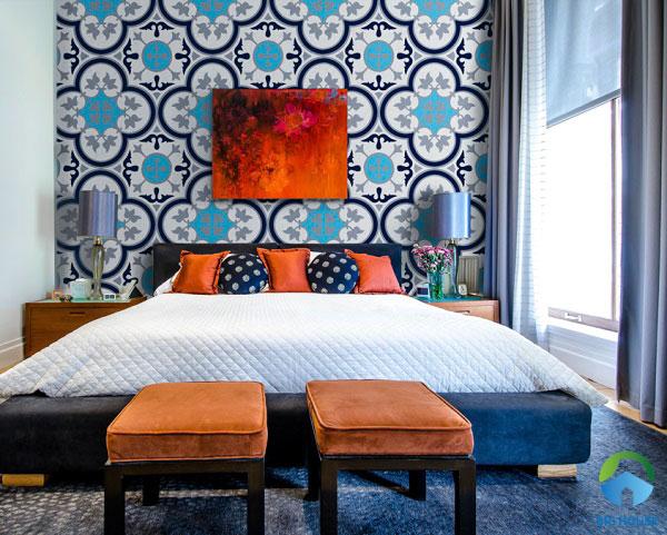 Gạch bông cổ điển màu xanh tươi mát ốp tường phòng ngủ