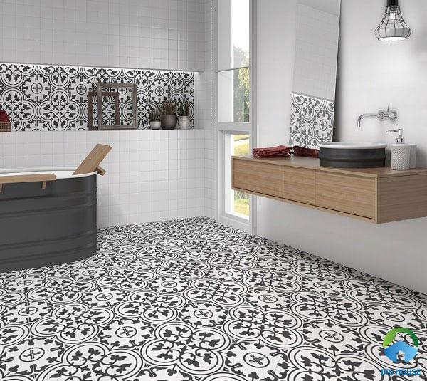 Gạch bông trang trí cổ điển trắng - đen kết hợp cùng gạch men ốp tường