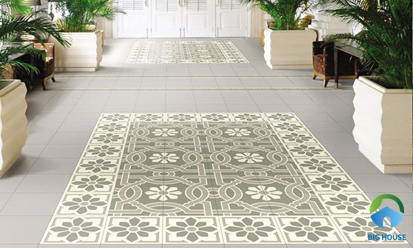 Thảm gạch bông tạo điểm nhấn nổi bật cho không gian quán cà phê