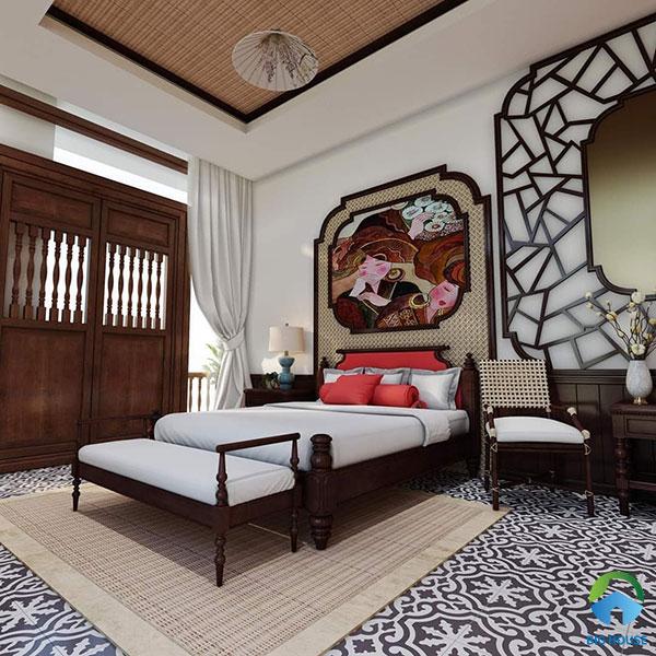 Gạch bông cổ điển lát nền phòng ngủ