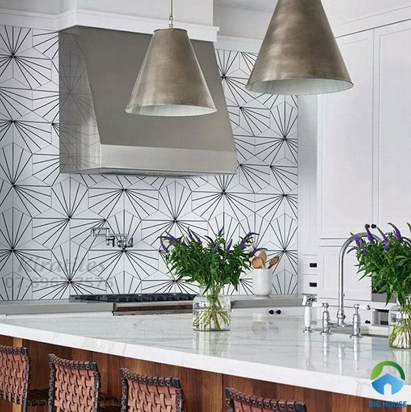 Gạch bông ốp tường bếp họa tiết đơn giản ốp bếp