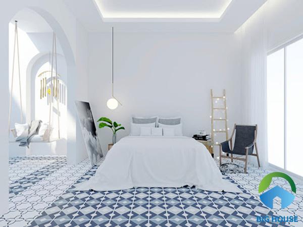 Gạch bông lát nền phòng ngủ mang vẻ đẹp đơn giản, trang nhã