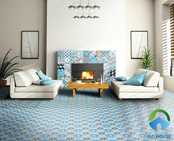 Gạch bông màu xanh nước biển lát nền cho phòng khách thêm sinh động