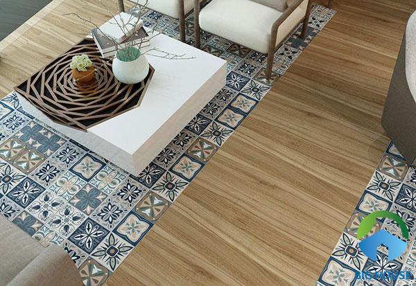 Gạch bông kết hợp cùng gạch giả gỗ càng tăng thêm vẻ đẹp cổ điển cho không gian
