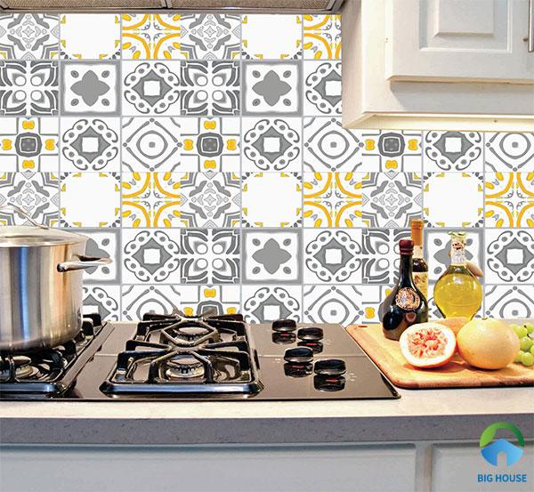 Mẫu gạch bông trang trí bếp đơn giản