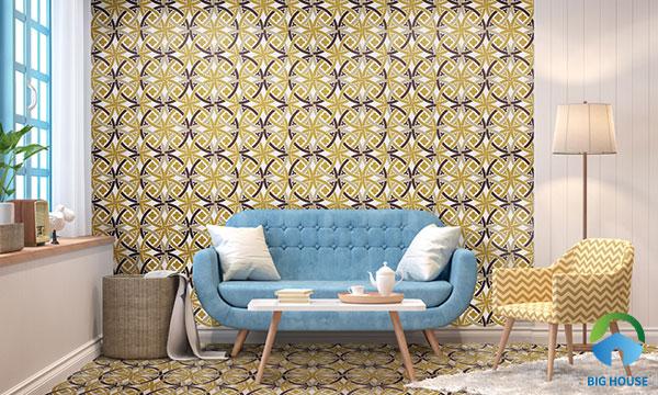 Mẫu gạch bông màu vàng tạo sự ấm cúng, gần gũi cho không gian phòng khách
