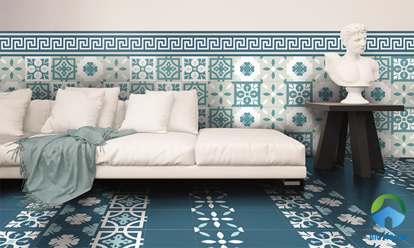 Gạch bông trang trí màu xanh với tone màu xanh - trắng