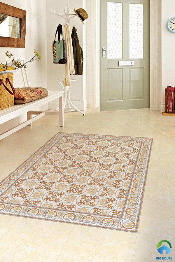 Thảm gạch phòng khách nổi bật hơn nhiều khi ứng dụng gạch bông hoa văn cổ điển