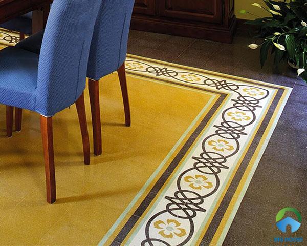 Kết hợp gạch bông trơn một màu cùng gạch viền họa tiết