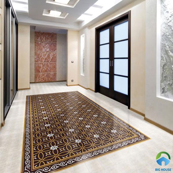 Thảm gạch bông họa tiết hoa văn cổ điển lát đại sảnh hành lang