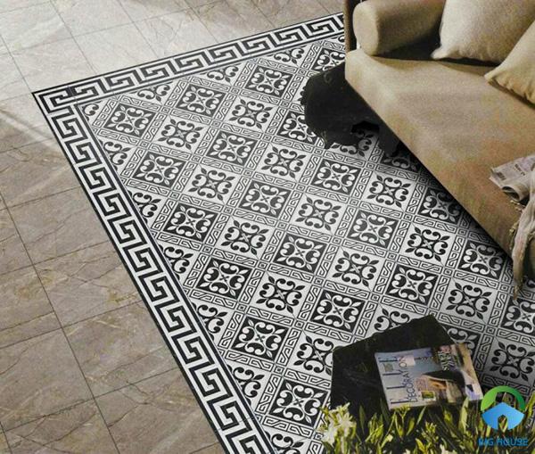 Đơn giản hơn là mẫu gạch viền họa tiết hình học đen trắng. Sử dụng mẫu gạch này lát nền cũng gạch bông cổ điển mang nét đẹp hoài cổ tới không gian hiện đại
