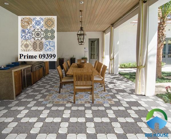 Mẫu gạch bông cổ điển Prime 9399kết hợp cùng gạch định hình vân đá