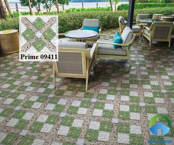 Mẫu gạch Prime 09411 giả cỏ cho khu vực hiên nhà thêm tươi mát và sinh động