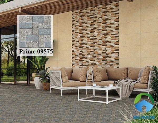 Những viên gạch Prime 9575 có họa tiết hình khối màu xanh xám xếp đan xen. Hiên nhà bạn sẽ thật đẹp và tiện ích khi sử dụng mẫu gạch chống trơn này
