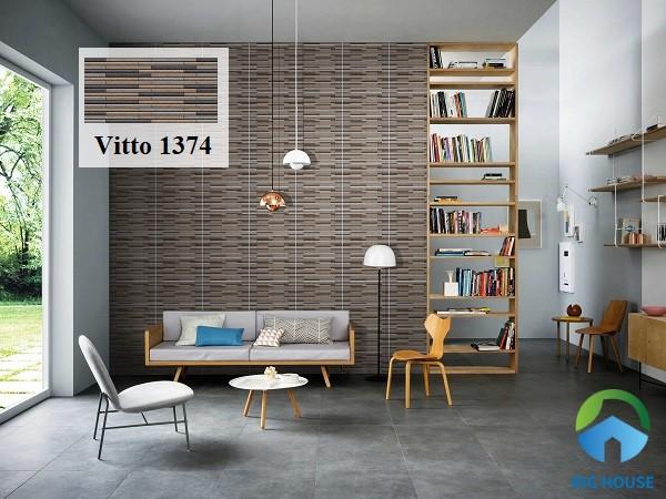 Gạch giả đá Vitto 1374 ốp sọc ngang cho không gian phòng khách