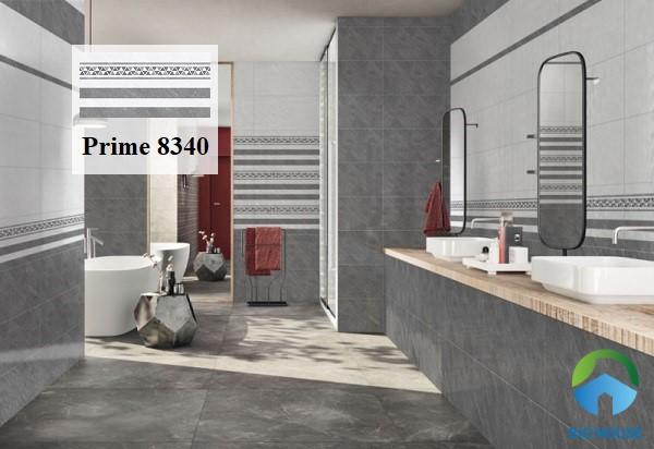 Gạch ốp tường 40x80 Prime 8340 họa tiết sọc ngang men matt cho phòng tắm