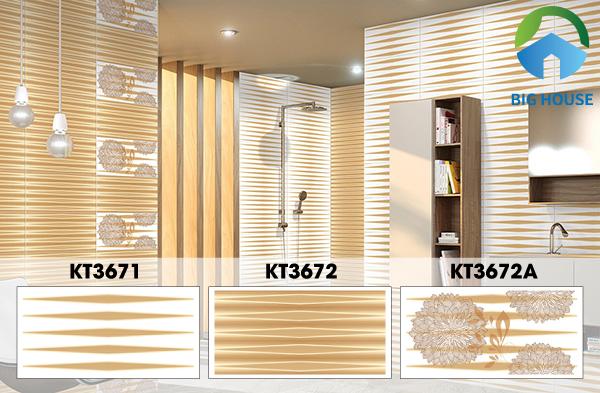 Bộ gạch ốp Viglacera KT3671, KT3672, KT3672A màu vàng họa tiết sọc ngang
