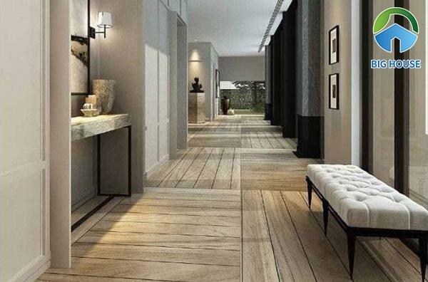 Tham khảo ý tưởng lát hành lang đi lại bằng gạch giả gỗ