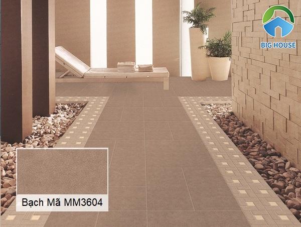 Mẫu gạch lát nền hành lang Bạch Mã MM3604 gam màu nâu đất men matt chống trơn rất tốt