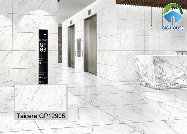 Gạch lát nền hành lang Taicera GP12905 vân đá màu trắng thanh lịch