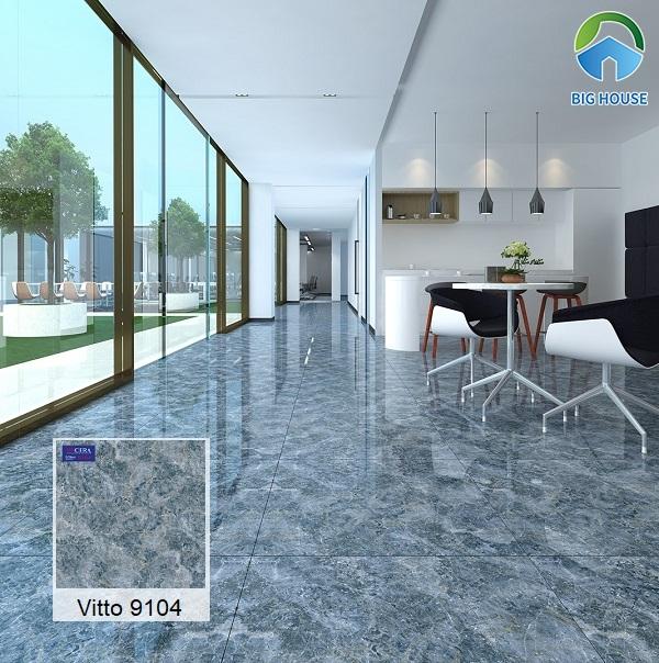 Mẫu gạch vân đá cẩm thạch màu xanh Vitto 9104 sinh động