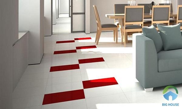 Mẫu gạch lát màu đỏ Đồng Tâm 428 tạo điểm nhấn nổi bật trên nền gạch màu trắng