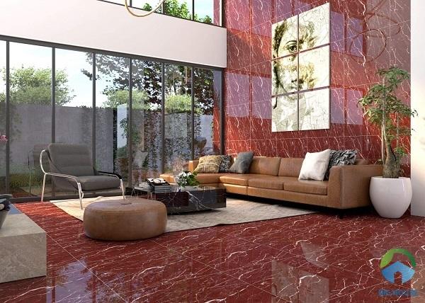 Gạch lát nền vân đá marble màu đỏ sang trọng cho phòng khách