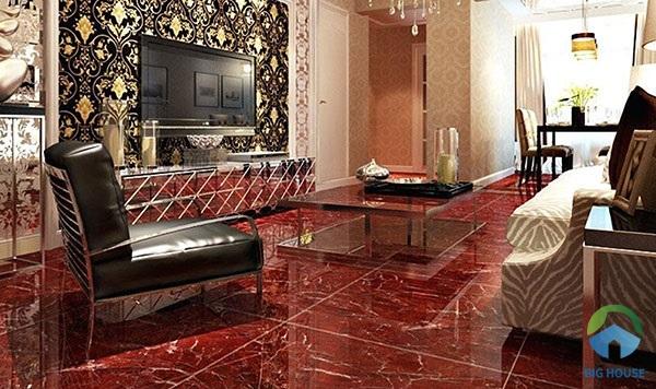 Gạch lát nền màu đỏ vân đá họa tiết kim sa hiện đại