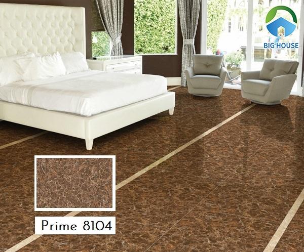 Mẫu gạch Prime 8104 lát nền tông nâu trầm ấm mang đến cảm giác thư thái cho phòng ngủ