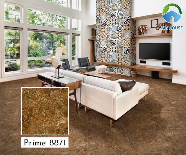 Gạch lát nền màu nâu vân đá Prime 8871 với từng đường nét được chạm khắc tinh tế và chân thực nhất