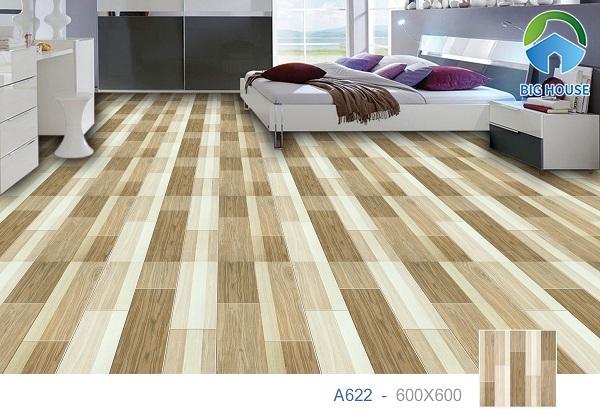Gạch lát nền màu nâu vân gỗ Ý Mỹ A622 mang đến cảm giác thư giãn cho không gian phòng ngủ