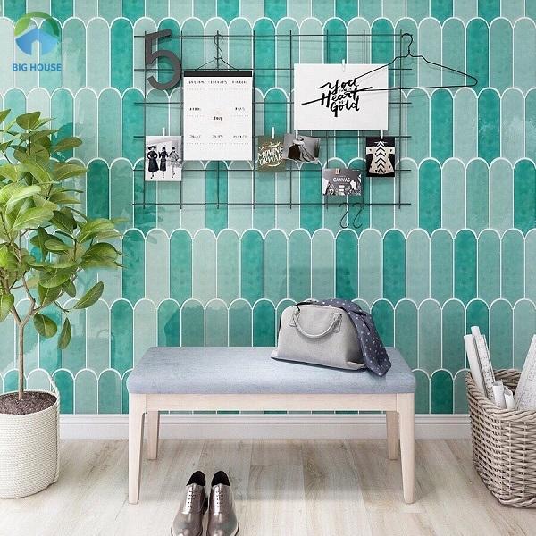 Gạch ốp tường màu xanh lá cây L90300-03 xen kẽ 2 gam màu đậm - nhạt