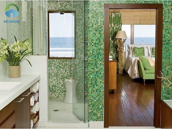 Gạch Mosaic ốp tường MT25015 gam màu xanh lá cây sang trọng và tươi mát