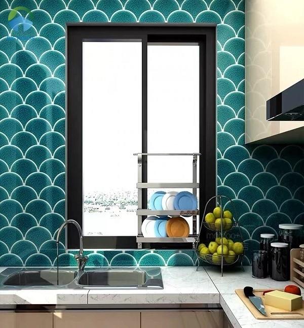 Gạch mosaic xanh đậm hình vảy cá YD-Y0706