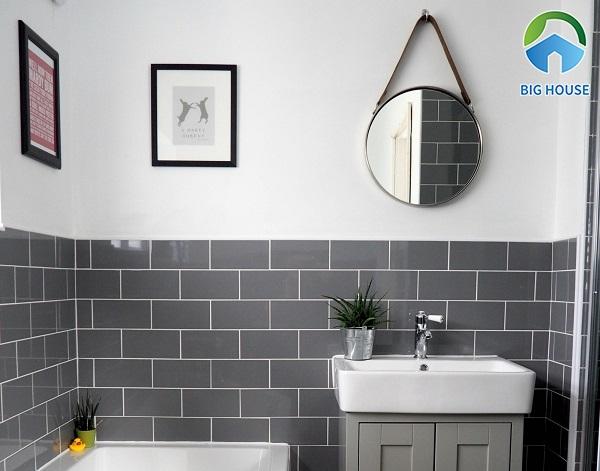 Gạch thẻ ốp tường màu ghi đảm bảo chất lượng về độ chống thấm