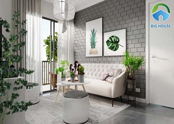 Mẫu gạch thẻ màu xám cho phòng khách mang phong cách Decor