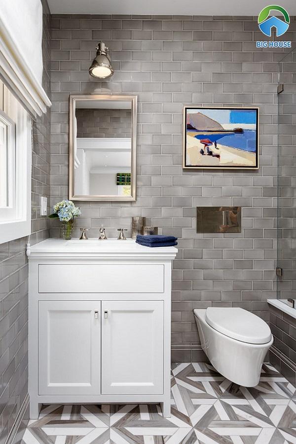Mẫu gạch thẻ ốp tường phòng tắm màu xám không quá nổi bật
