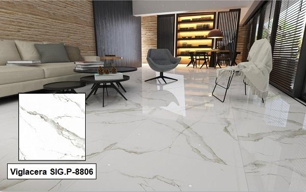 Gạch giả đá màu trắng Viglacera SIG.P 8806 kích thước 80x80