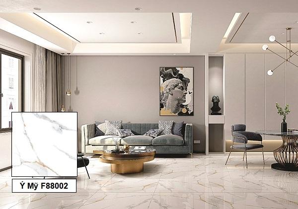 Mẫu gạch giả đá màu trắng Ý Mỹ F88002 họa tiết chân thực và sắc nét