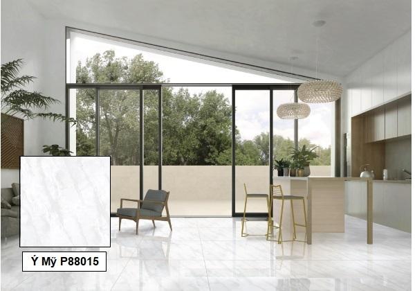 Mẫu gạch giả đá màu trắng Ý Mỹ P88015 chất liệu granite cao cấp