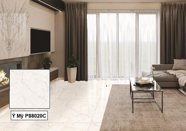 Mẫu gạch vân đá Ý Mỹ P88020C kích thước 80x80 cm lát nền phòng khách hiện đại