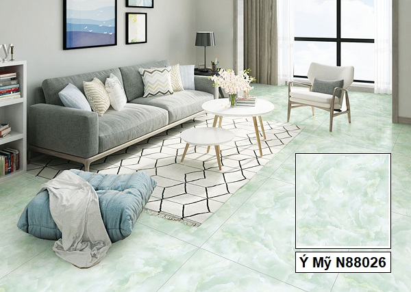 Không gian phòng khách nhẹ nhàng, bồng bềnh tạo cảm giác thoải mái nhờ mẫu gạch Ý Mỹ N88026