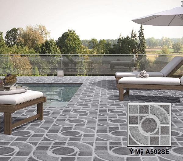 Gạch lát sân vườn màu xám Ý Mỹ A502SE tông màu xám đậm - nhạt độc đáo