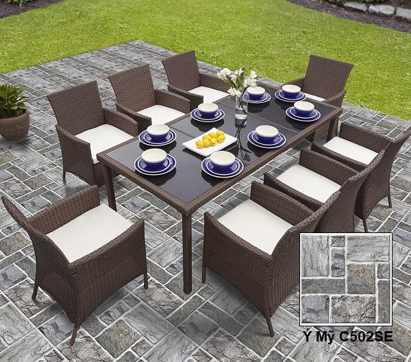 Gạch lát sân vườn màu xám Ý Mỹ C502SE họa tiết hình khối