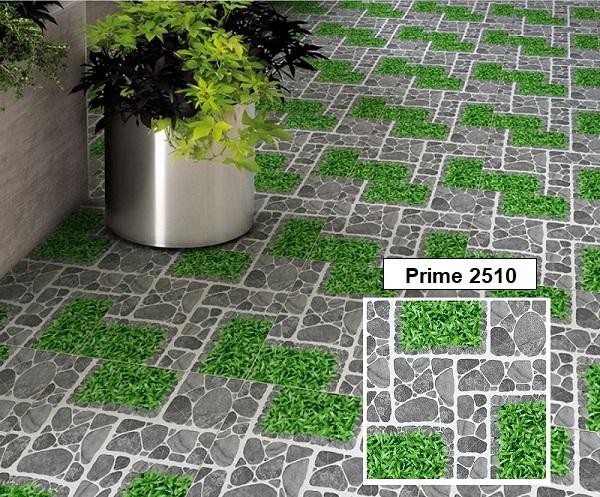 Mẫu gạch Prime 01.400400.02510 họa tiết sỏi đá kết hợp cùng giả cỏ